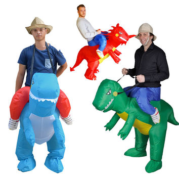 inflatable dinosaur costume for adults halloween costumes for women T-rex fancy dress for men kids animal cloth Fan operated