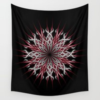 Mandala silver and red Wall Tapestry by VanessaGF