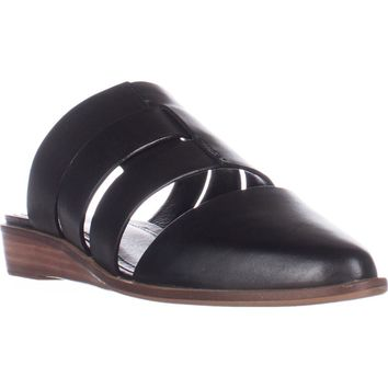 Kelsi Dagger Brooklyn Assembly Flat Mules, Black Leather, 6.5 US