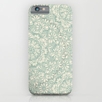 Sage Medallion with Butterflies & Daisy Chains iPhone & iPod Case by Micklyn