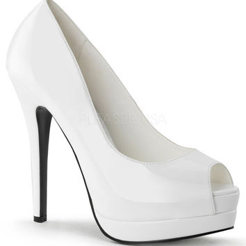 Pin Up Couture White Patent Slip On Pumps