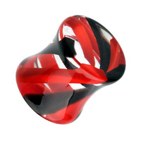Marbled Stripe Acrylic Double Flared Ear Gauge Plug