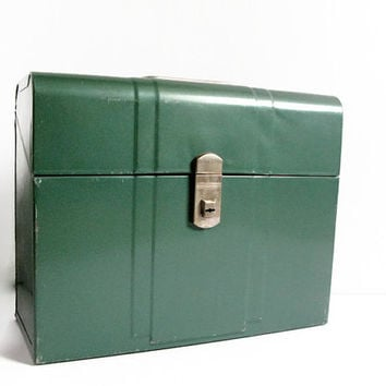 Vintage Industrial Green Metal File Box, Retro Office, Metal Storage Box, Climax Brand File Box