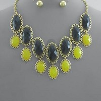 2 Row Oval Beads Necklace Set