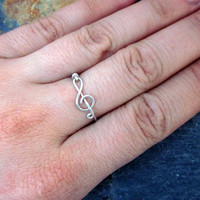 Treble Clef Ring - Music Ring, Argentium Silver Ring, Wire Wrapped Ring, Treble Clef Jewelry, Music Jewelry, Best Friend Rings, Handmade