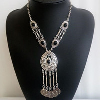 Gypsy Necklace With Black Stones And Silver Coins Boho Statement Jewelry Gipsy Wanderer