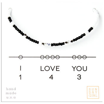 Friendship Bracelet - I Love You 143 - Black/White