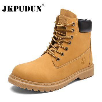 JKPUDUN Winter Ankle Boots Men Casual Shoes Lovers Lace-Up Autumn Leather Waterproof Work Tooling Mens Boots Military Army Botas