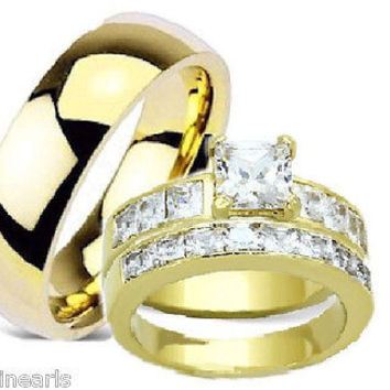 His & Hers Wedding Engagement Ring Set Yellow Gold Plated Stainless & Titianium