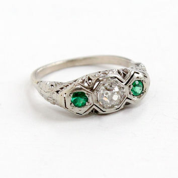 Antique 14k White Gold .42 Carat Diamond and Emerald Filigree Ring - Vintage Art Deco 1920s 1930s Fine Engagement Green Gemstone Jewelry