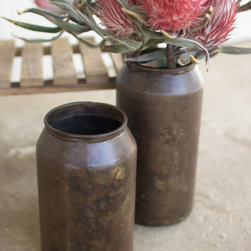 Set of 2 Old Brass Finish Vases