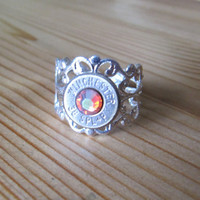 38 Special Bullet Ring with Rainbow Padparadscha Swarovski Crystal Accent - Small Thin Cut - Girls with Guns