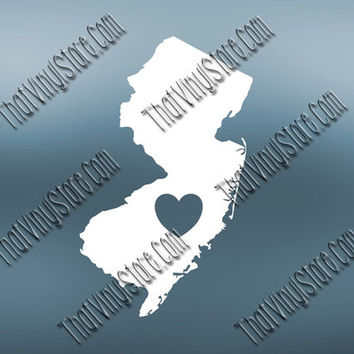 New Jersey Heart Home Decal | I Love New Jersey Decal | Homestate Decals | Love Sticker | Love Decal  | Car Decal | Car Stickers | 489