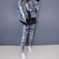 """Adidas"" Women Casual Flower Print Zip Cardigan Short Sleeve Trousers Set Three-Piece Sportswear"