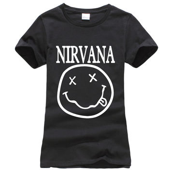 2016 summer Nirvana Smiley Face print women tshirt fashion harajuku brand korean tee shirt femme funny punk slim black tops geek