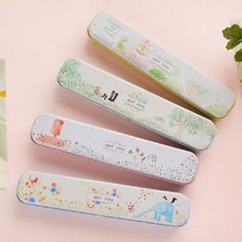 New Cute Cartoon Animal Metal Pencil Case Vintage Retro Flower Pen Box For Kids Gift School Supply Stationery Free Shipping 699