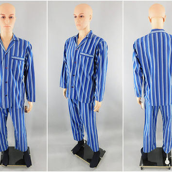 Vintage Men's Pajamas / Men's PJs / St Michael Pajama Set / Vintage Menswear Sleep Set / Size Medium M / Made in England / Blue Stripe / UK