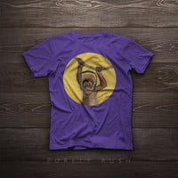 T-Shirt - I love music. Baby monkey on yellow background - Illustration, tshirt, funny, gift, pet, portrait, smile