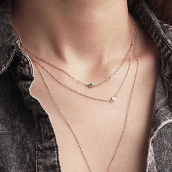 Dual Birthstone Necklace, Dainty Minimal CZ Necklace, Simple Layering Necklace in Sterling Silver D55