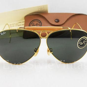 B&L, Ray-Ban, New Old Stock, Aviator, Bullet Hole, Cable Arms, Shooter, Vintage, Sungl