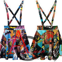LADIES WOMEN BATMAN BATGIRL COMIC LOGO PRINT DUNGAREE PINAFORE MINI SKIRT 8-14