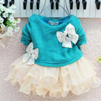 Cute Baby Girls Long Sleeve Knitted With Bow Infants Newborn Tutu Princess Dress New Arrival Girl Dresses Kid Clothing
