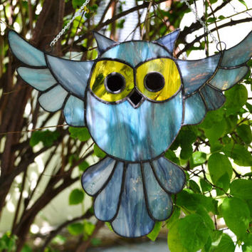 Stained Glass Bird, Owl Suncatcher in blue, gray and yellow,  Window Haning Decoration or Wall Art Glass Decor