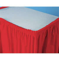 Classic Red (Red) Plastic Table Skirt