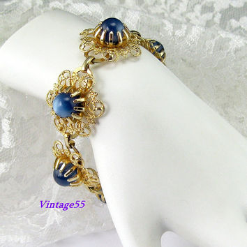 Bracelet Lucite Moonglow Blue Fligree