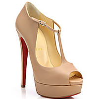 Christian Louboutin - Leather Peep-Toe Platform Pumps - Saks Fifth Avenue Mobile