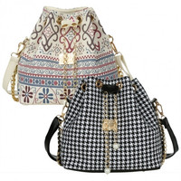 Drawstring Bag Patchwork Patterns Shoulder Messenger Bag Women Handbag Chain Bag Diagonal Package Canvas Totes