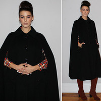 Vintage 60s BLACK CASHMERE CAPE / Mod Wool Coat / Midi Length / Oversized Buttons, Pockets / Elegant, Minimalist / Poncho, Cloak