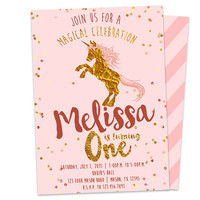 Gold and Pink Unicorn Invitation - 1st Birthday Invitation Girl - Gold Foil First Birthday Girl Invitations - Unicorn Birthday - Magical