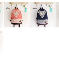 Cute Canvas Backpack With Triangle Lace  [3]