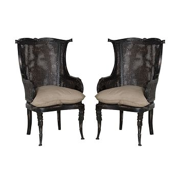 CANED WINGBACK CHAIR - Set of 2