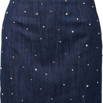 Miu Miu - Crystal-embellished denim mini skirt