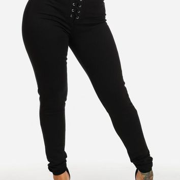 Evening Wear High Rise Lace Up Black Pants