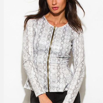 WHITE PYTHON SNAKE ANIMAL PRINT FAUX LEATHER LONG SLEEVE PEPLUM JACKET