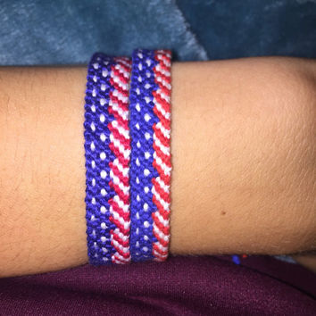 Adjustable American Flag Friendship Bracelet Handwoven