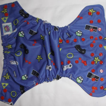 Blue Old School Gamer Boy Semi Custom Cloth Diaper Pocket or Cover Little Lotus Buds One Size