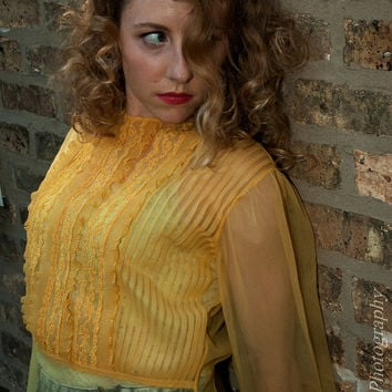 Vintage 1940s/50s Sheer Yellow Blouse w/Ruffles by BasyaBerkman