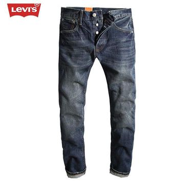 Levi's 2017 Fashion Men's Retro Vintage Denim Jeans Pleated Straight Washed Full Length Trousers Men Women Casual Long Pants 115