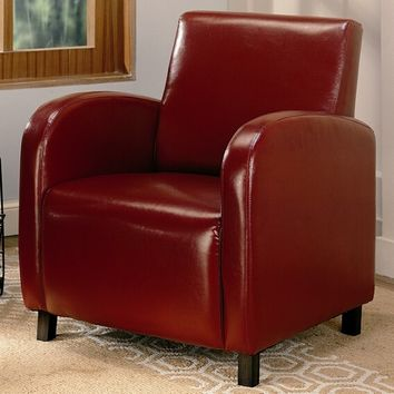 Coaster 900335 Red leather like vinyl accent chair