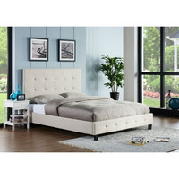 California King Size Upholstered Platform Bed with Headboard in Bone Beige Off White Fabric