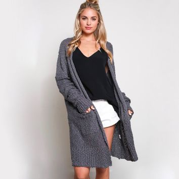 open-front long-line cardigan - charcoal