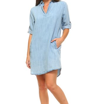 Women's Long Sleeve Denim Pocket Dress
