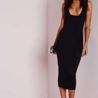 Missguided - Jersey Square Bust Midi Dress Black