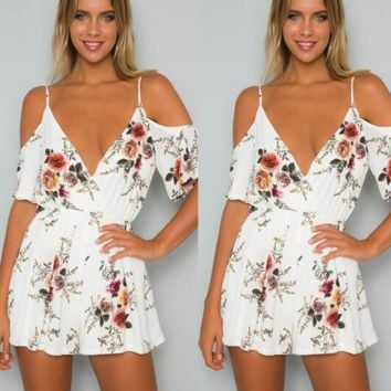 Fashion condole deep V off-the-shoulder jumpsuits printed on holiday