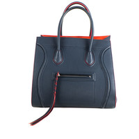 Navy & Red Leather Tote