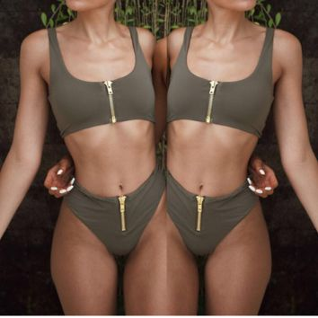 6 color new style bikini explosion lady pure color high waist zipper split swimsuit Grey Green